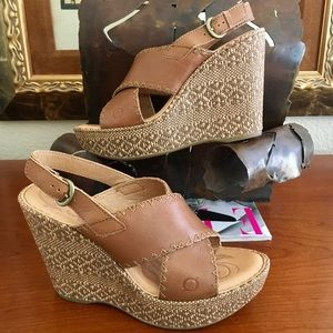 Born Wedge Raffia Cork Sandal Wore1X $135 Sz 8
